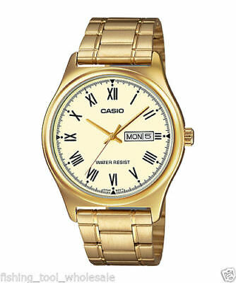 NEW Casio MTP-V006G-9B Men's Gold-tone Watch Roman Gold Dial Day/Date WR