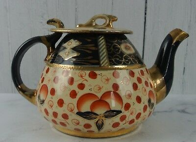 Antique Victorian Gaudy Welsh Tea Pot, Imari Style Pattern with Beautiful Lid