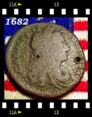 1682 King Charles II Irish Colonial Half penny Days Of Old nota Token Coin Rare