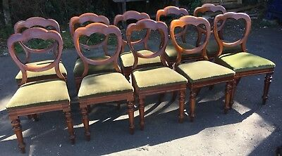 10 Genuine Antique Victorian Mahogany Balloon Heart Back Dining Kitchen Chairs
