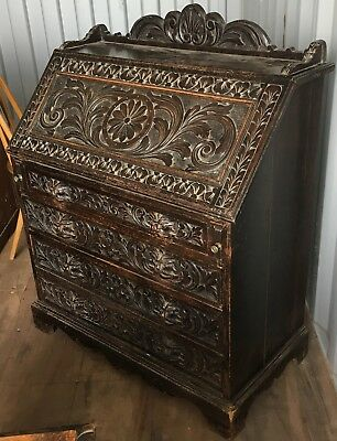 Antique Victorian Carved Oak Greenman Writing Desk Bureau Table