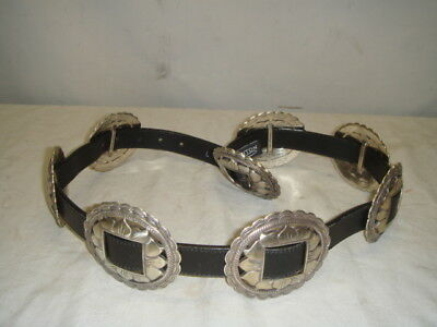 Brighton Woman's Sunflower Silver Concho Belt Black Leather Large