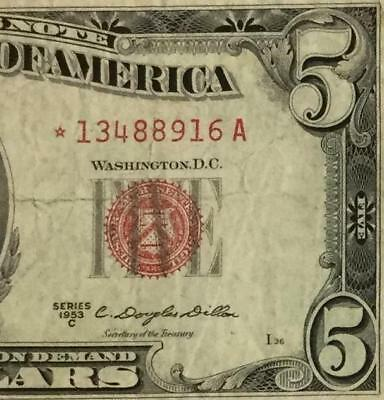 1953c 5 red us legal tender star x916 vg old us paper money