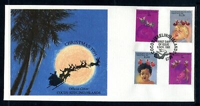 1991 Cocos Island Christmas (Gummed Stamps) FDC