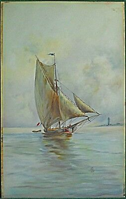 Vintage Milk Glass Gouache Painting Sailboat Baltic Trader French Flag  Marine