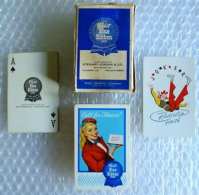 pBR BEER PABST BLUE RIBBON PLAYING CARDS COMPLIMENTS STEWART-JORDAN CO neocurio