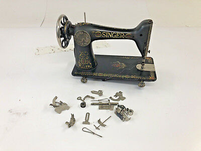 Vintage Singer Sewing Machine RED EYE MODEL 66 antique head w Accessories extras