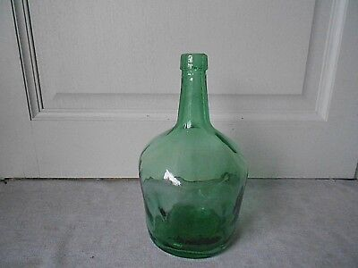 Vintage French Green Glass DEMIJOHN BOTTLE