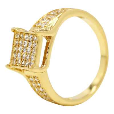 18k Gold Plated Chic Square Clear Cubic Zirconia Women's Fashion Rings