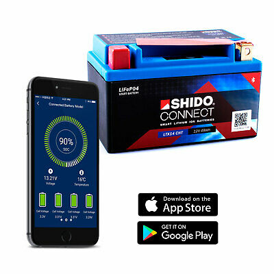 SHIDO LTX14 Lithium Connect Battery (YTX14 Smartphone Android Iphone Ios