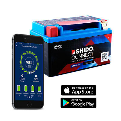 SHIDO LTX12 Lithium Connectez Batterie (YTX12 Smartphone Android Iphone Ios