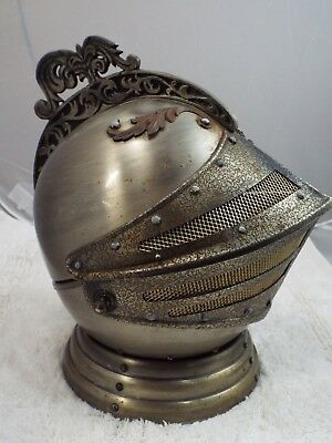 Vintage Medieval Knight's Helmet Bar Decanter Shot Glass Holder Music Box