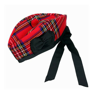 New Scottish Piper Hat 100% Pure Wool Glengarry - Royal Stewart - Choose Size