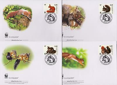 Slovenia 2007 WWF - Eurasian Red Squirrel - 4 First Day Covers FDC - (284)