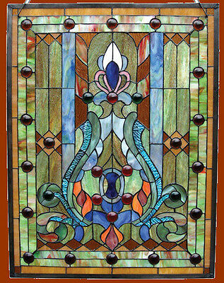 "Stained Glass & Cabochons Victorian Design Window Panel 18"" x 25"" Handcrafted"