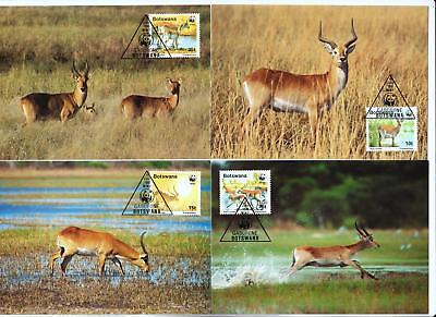 Botswana 2005 WWF - Red Lechwe Deer - 4 First Day Covers FDC - (234)