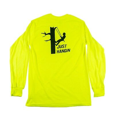 """Tree Climbers Long Sleeve Safety Green Shirt """"Just Hangin"""" Graphic on Back,Small"""