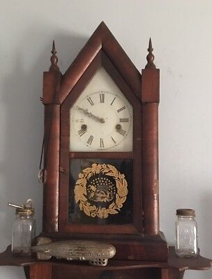 """VINTAGE/ ANTIQUE 31 Hour WORKING MOVEMENT BEAUTIFUL """"GOTHIC"""" STEEPLE CLOCK  !"""