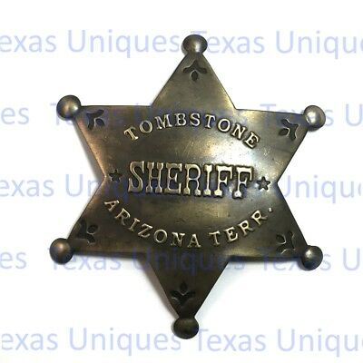 Old West Tombstone Sheriff Brass Badge BAG200-AB