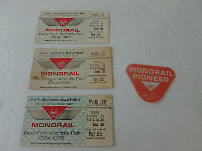 New York World's Fair 1964-65 Monorail Tickets + Monorail Souvenir Cloth Patch