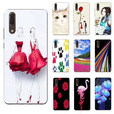 For Alcatel 3V 3X 3C 3 3L Cell Phone Protective TPU Cover Case Rose Cat Gril
