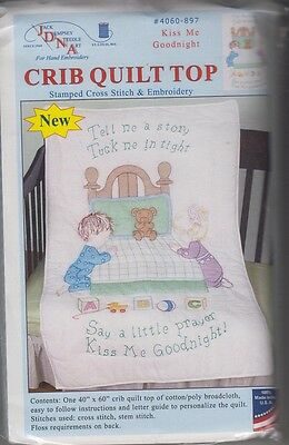 """1 Jack Dempsey """"Kiss Me Goodnight"""" Stamped XStitch-Embroidery Crib Quilt Top"""