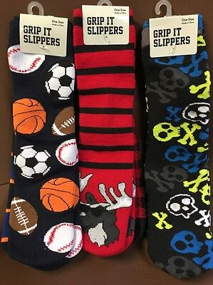 Grip It ~ 2 pair Kids Slippers Slipper Socks ~ Choose 3 Designs ~ One Size ~ New