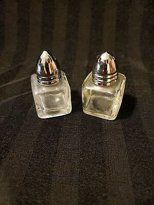 Vintage Small Clear Glass Cube Metal Cap Salt and Pepper Shakers