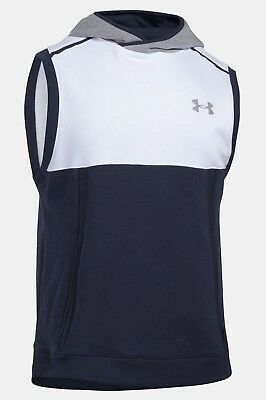 12eac66d90f6f6 Under Armour Men s White Navy UA Threadborne Fleece Sleeveless Pullover  Hoodie