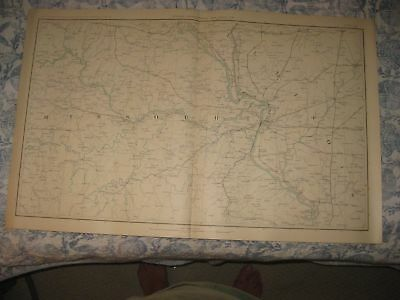 Antique 1891 Official Missouri Illinois St Louis Civil War Atlas Map Railroad Nr