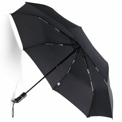 Black  Blue 8 Ribs Compact Folding Umbrella Auto Open Close Waterproof Windproof