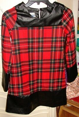 Cwd Kids Big Girls Size 14 Gorgeous Flannel Print Dress With Faux Leather Trim