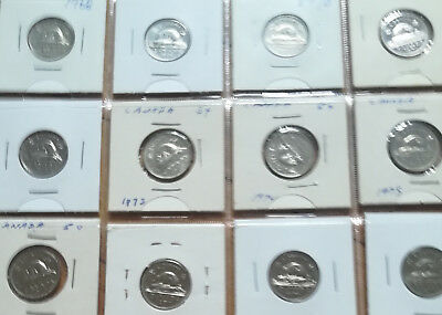 Set of Canada Five Cents (1968-1980 Nickels) NICE GRADE COINS