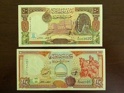 Syrian 200 Pounds 1997 and 50 Pounds 1998UNC, Banknote Uncirculated