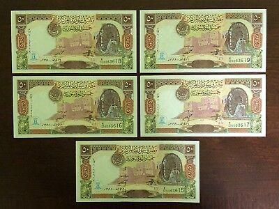 Syrian 50 Pounds X 5 Pieces 1998 UNC, Banknote Uncirculated