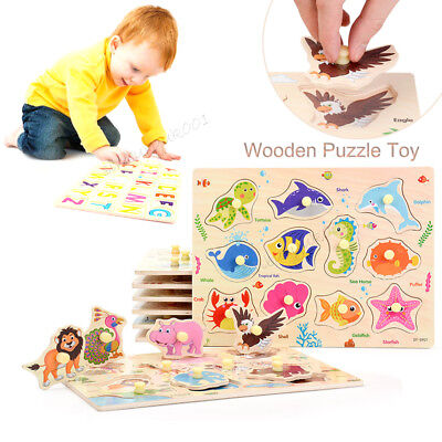 Wooden Animal Letter Puzzle Jigsaw Pre-School Learning Baby Kids Educational Toy