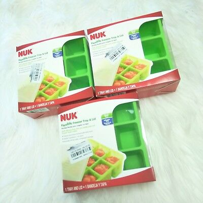 3 New NUK Flexible Freezer Silicone Tray and Lid Baby Food, 9 Portions, BPA-Free