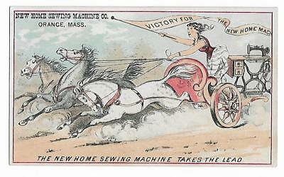 Old Trade Card New Home Sewing Machine Co Orange Racing Horses Chariot Victory