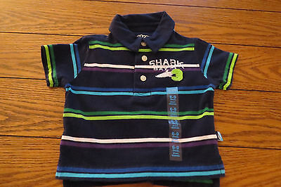 Boys SS Polo Shirt Sz 6-9 mo Blue Striped Everyday Children's Place Cotton  NWT