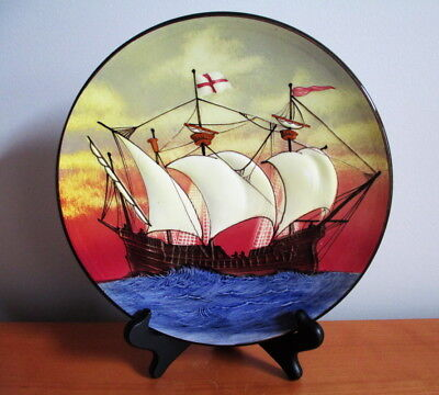 "Wall Plate Raised Ship Galleon Red Blue Porcelain 9 1/2"" Signed Germany Vintage"