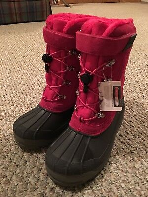 LANDS'END Youth Girls EXPEDITION SNOW BOOTS Dark Rose Sizes 6 & 7 BRAND NEW