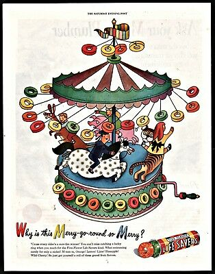 1946 LIFE SAVERS CANDY AD Carousel Merry-Go-Round great Children's Bedroom Decor