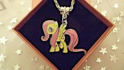 My Little Pony Flutter Shy Charm Necklace Strong Chain 16 Inch Gift Box Birthday