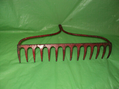 Vintage Metal Farm Rake Head -w/   Red Color