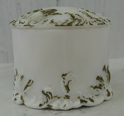 Vintage Milk Glass Powder Jar Floral Relief