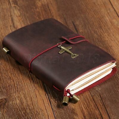 Retro Wine Red Leather Travel Notebook Notepad Journal Diary Passport Memo Book