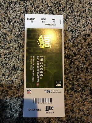 2018 Green Bay Packers Vs San Francisco 49Ers Nfl Football Ticket Stub 10/15