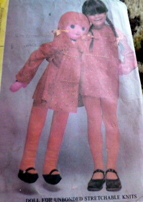 """Great Vtg 41"""" Life Size Doll & Clothing Sewing Pattern"""