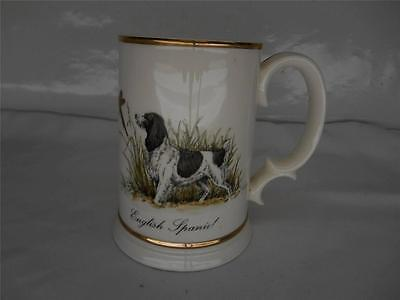 Old vtg SWANK Tankard Collection English Spaniel Dog Mug Glass Stein Drinking