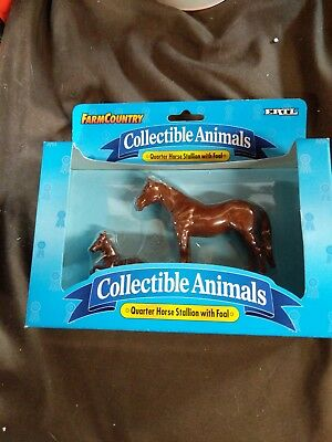 """Ertl """"Farm Country"""" Collectable Animals """"QUARTER HORSE STALLION WITH FOAL"""""""